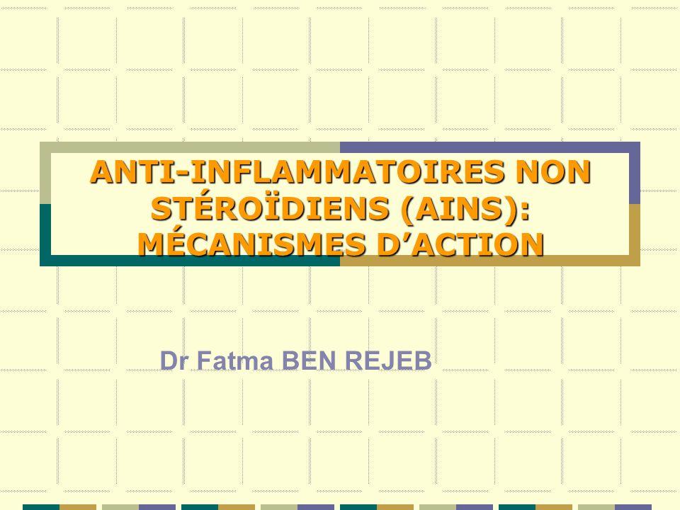 ANTI-INFLAMMATOIRES NON STÉROÏDIENS (AINS): MÉCANISMES D'ACTION