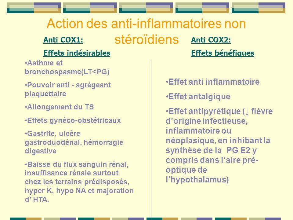 Action des anti-inflammatoires non stéroïdiens