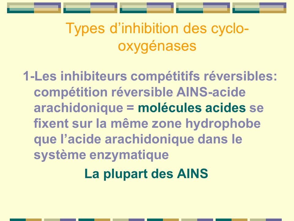 Types d'inhibition des cyclo-oxygénases