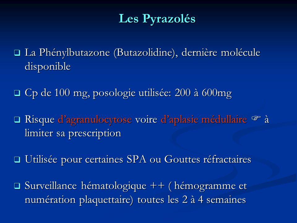 Les Pyrazolés La Phénylbutazone (Butazolidine), dernière molécule disponible. Cp de 100 mg, posologie utilisée: 200 à 600mg.