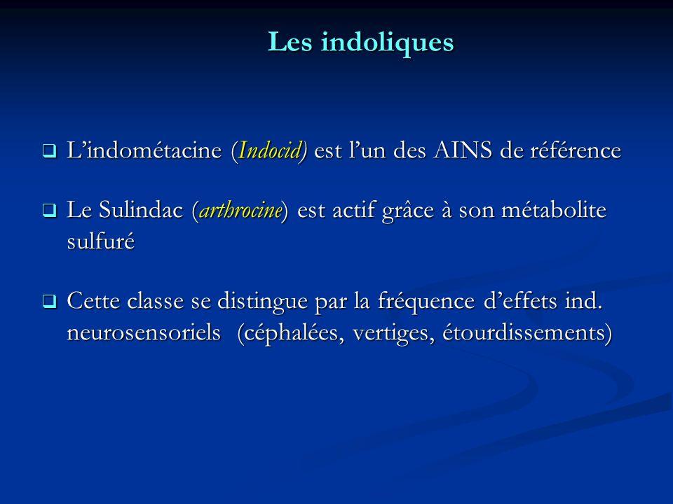 Les indoliques L'indométacine (Indocid) est l'un des AINS de référence
