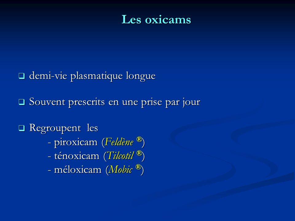 Les oxicams demi-vie plasmatique longue