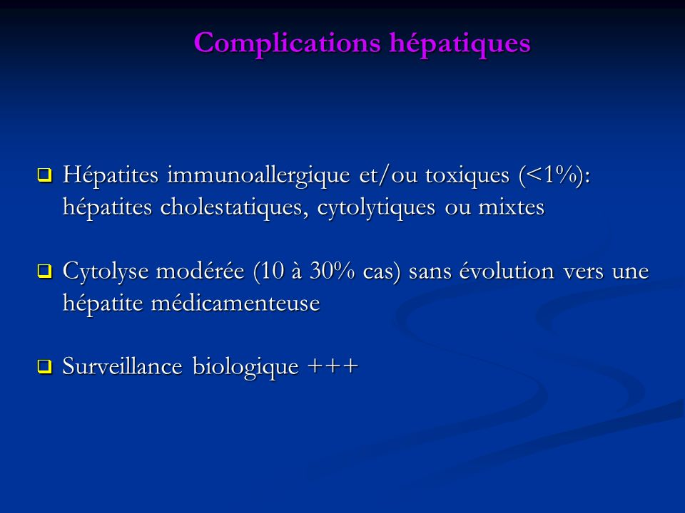 Complications hépatiques