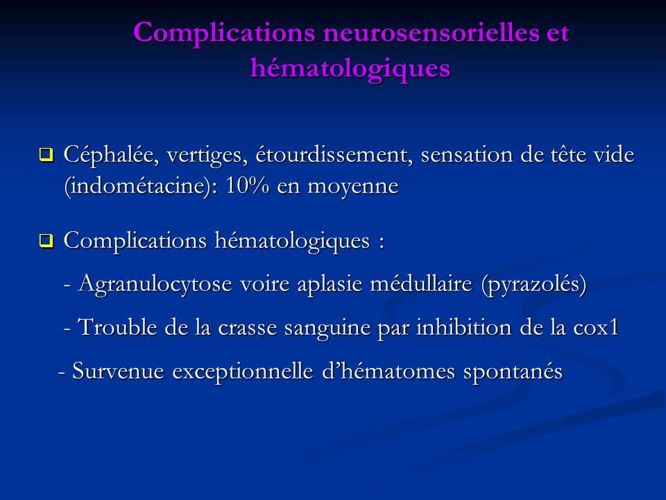 Complications neurosensorielles et hématologiques