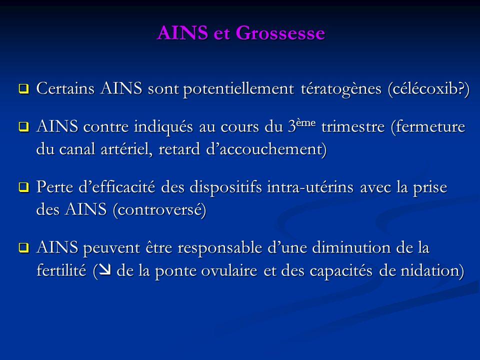 AINS et Grossesse Certains AINS sont potentiellement tératogènes (célécoxib )