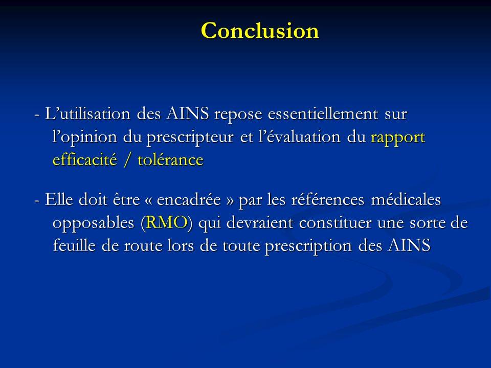 Conclusion - L'utilisation des AINS repose essentiellement sur l'opinion du prescripteur et l'évaluation du rapport efficacité / tolérance.
