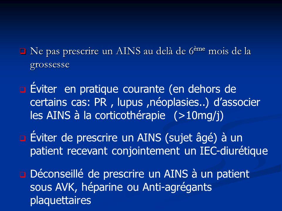 Ne pas prescrire un AINS au delà de 6ème mois de la grossesse