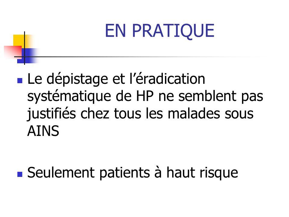 EN PRATIQUE Le dépistage et l'éradication systématique de HP ne semblent pas justifiés chez tous les malades sous AINS.