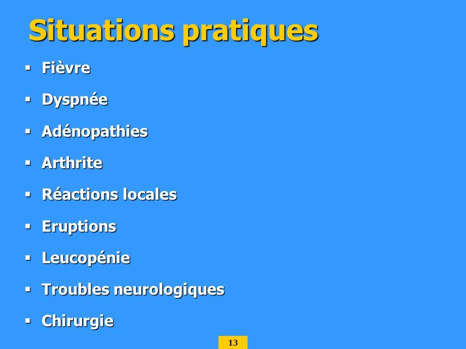 Situations pratiques Fièvre Dyspnée Adénopathies Arthrite