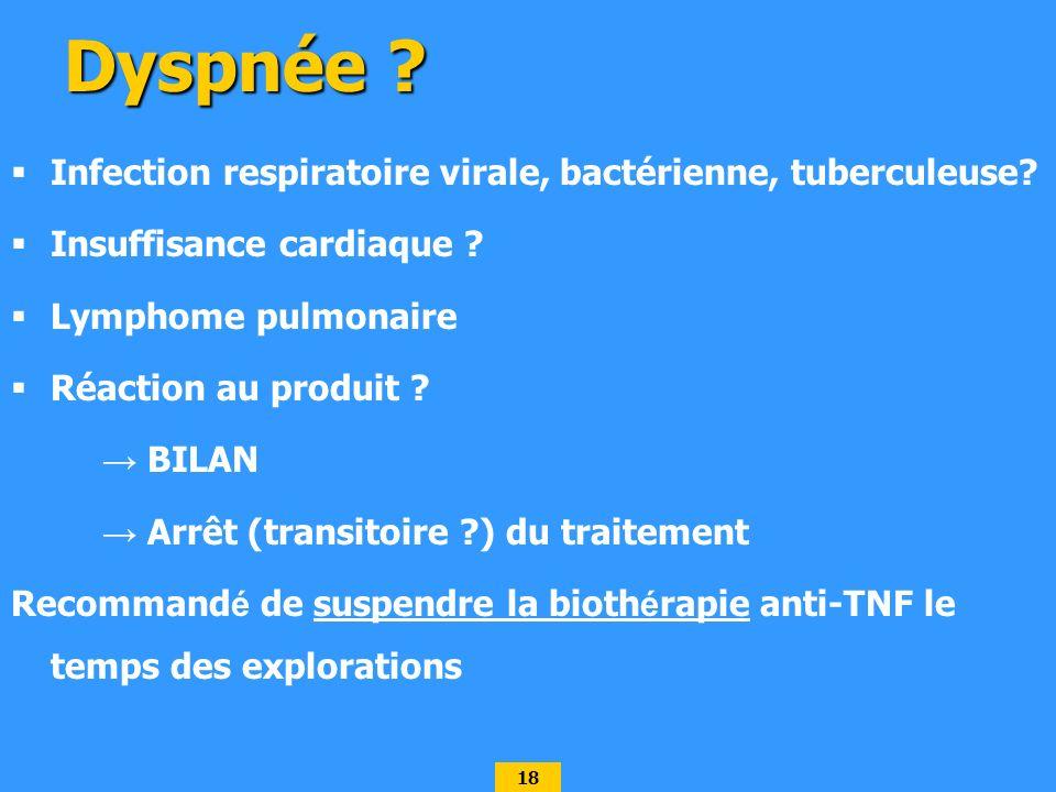 Dyspnée Infection respiratoire virale, bactérienne, tuberculeuse