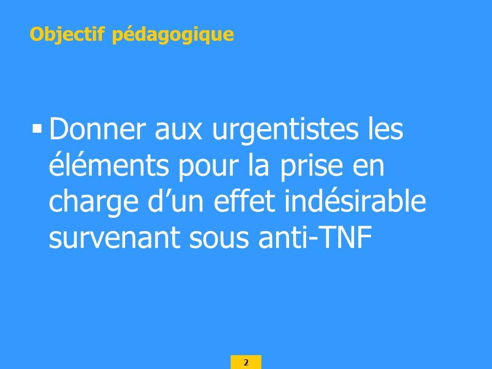 Objectif pédagogique Donner aux urgentistes les éléments pour la prise en charge d'un effet indésirable survenant sous anti-TNF.