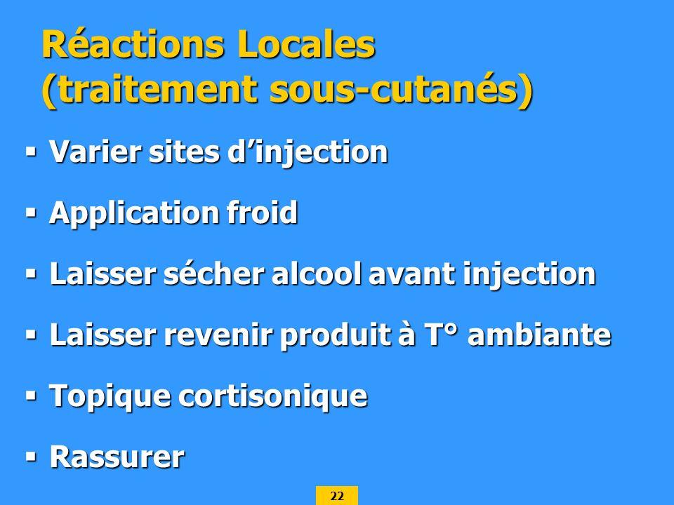Réactions Locales (traitement sous-cutanés)