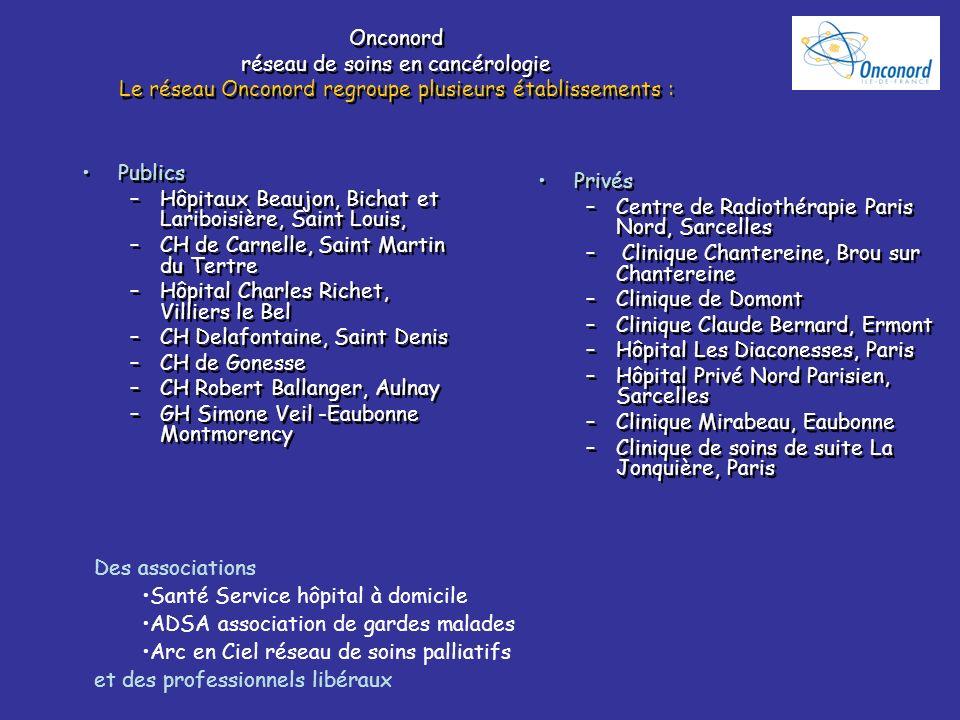 Onconord réseau de soins en cancérologie Le réseau Onconord regroupe plusieurs établissements :