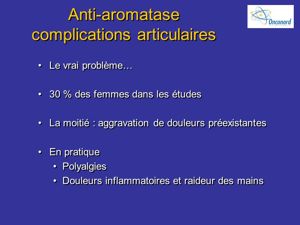 Anti-aromatase complications articulaires