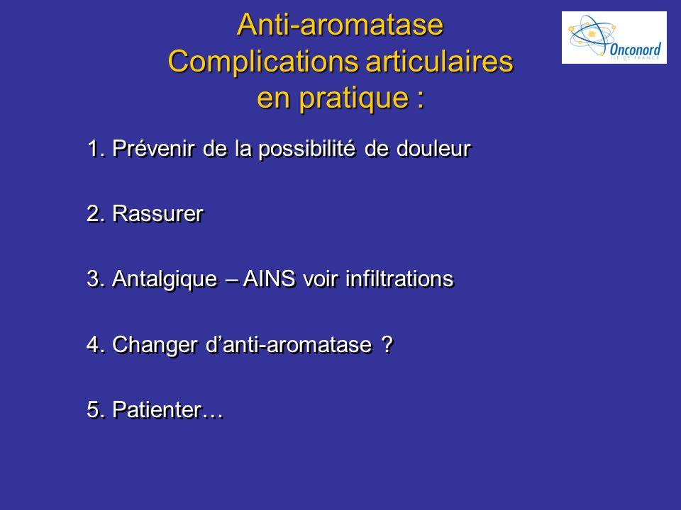 Anti-aromatase Complications articulaires en pratique :
