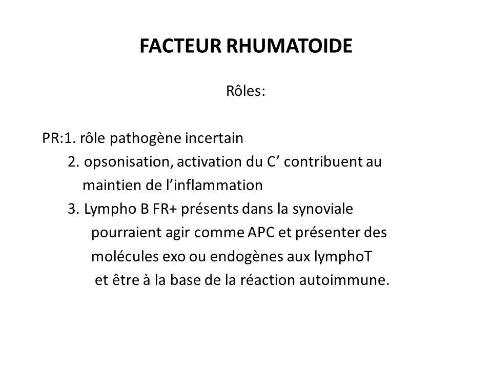 FACTEUR RHUMATOIDE Rôles: PR:1. rôle pathogène incertain