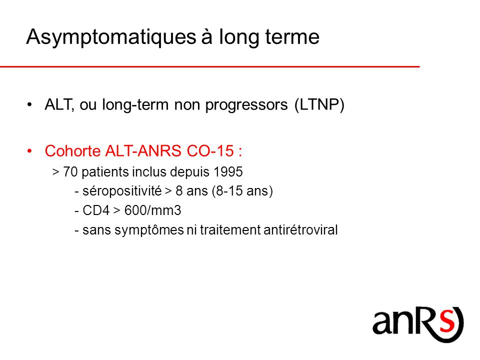 Asymptomatiques à long terme
