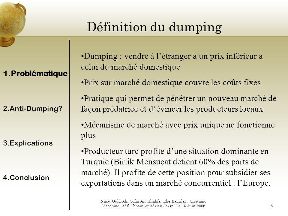 Définition du dumping Dumping : vendre à l'étranger à un prix inférieur à celui du marché domestique.