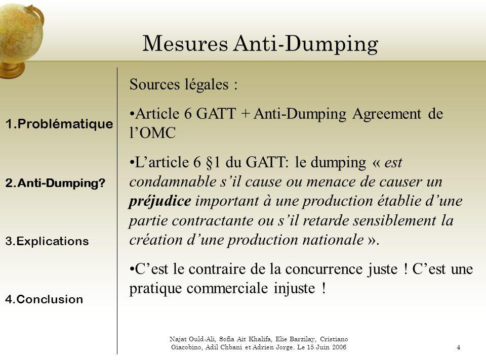 Mesures Anti-Dumping Sources légales :