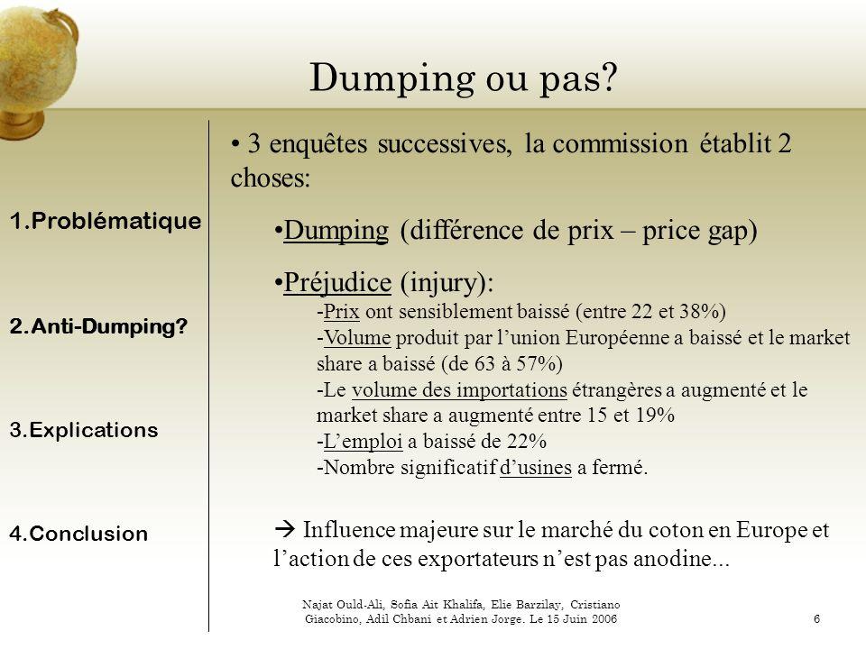 Dumping ou pas 3 enquêtes successives, la commission établit 2 choses: Dumping (différence de prix – price gap)