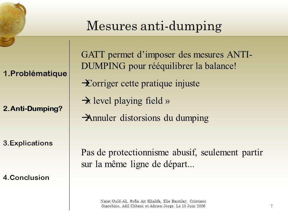 Mesures anti-dumping GATT permet d'imposer des mesures ANTI-DUMPING pour rééquilibrer la balance! Corriger cette pratique injuste.