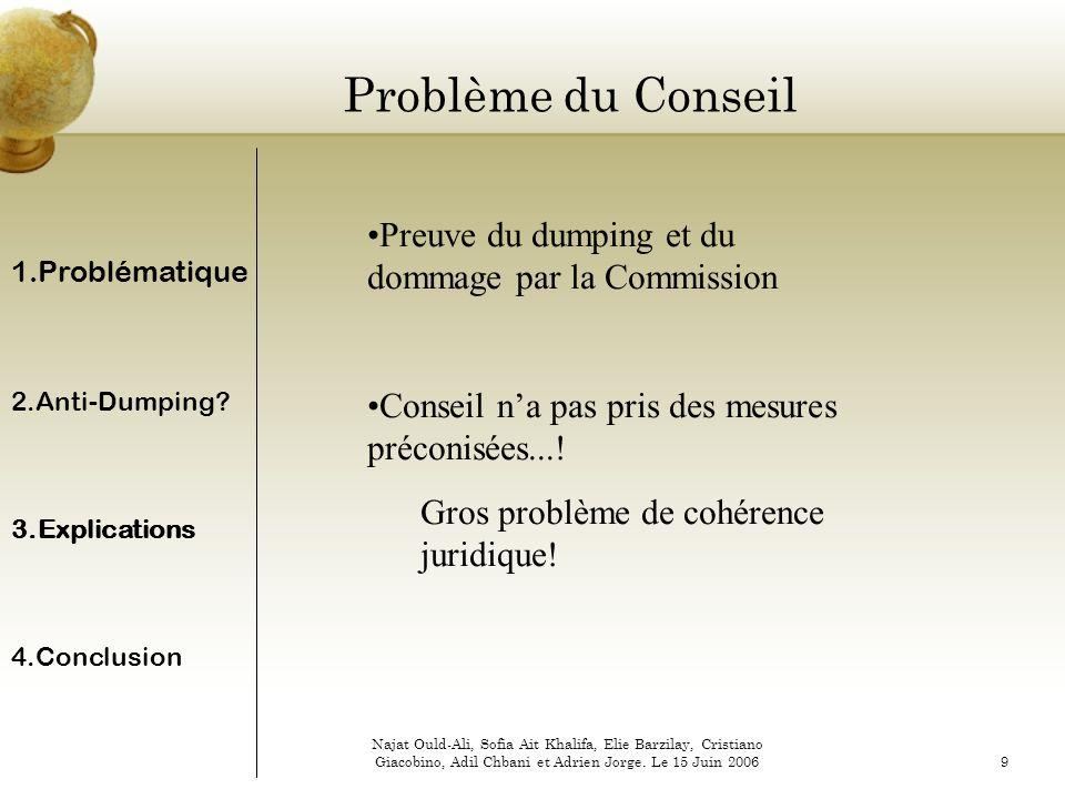 Problème du Conseil Preuve du dumping et du dommage par la Commission