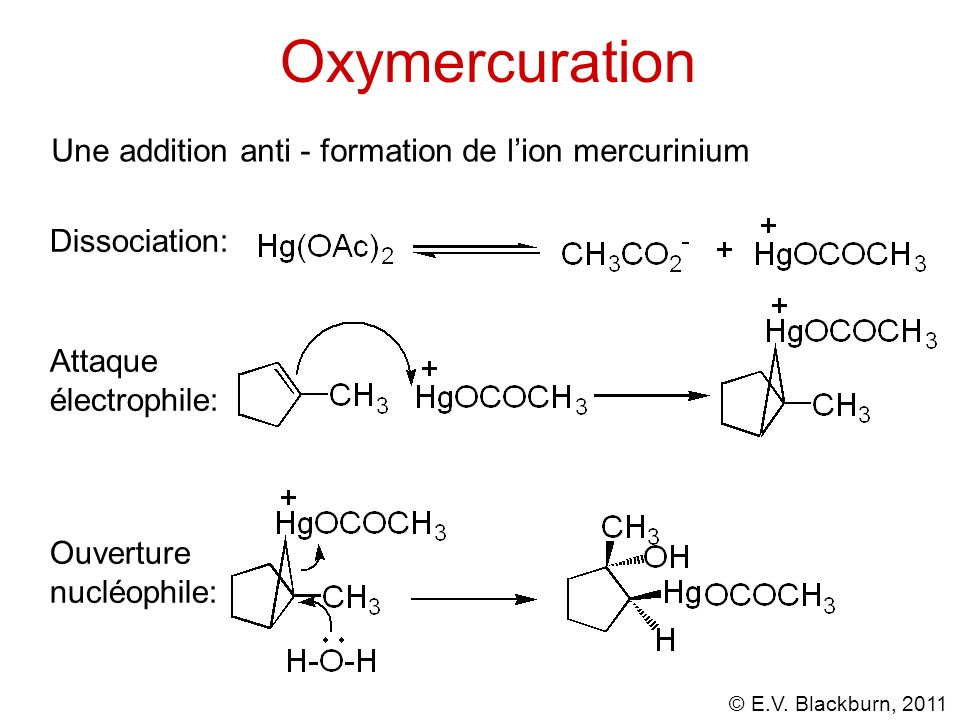 Oxymercuration Une addition anti - formation de l'ion mercurinium