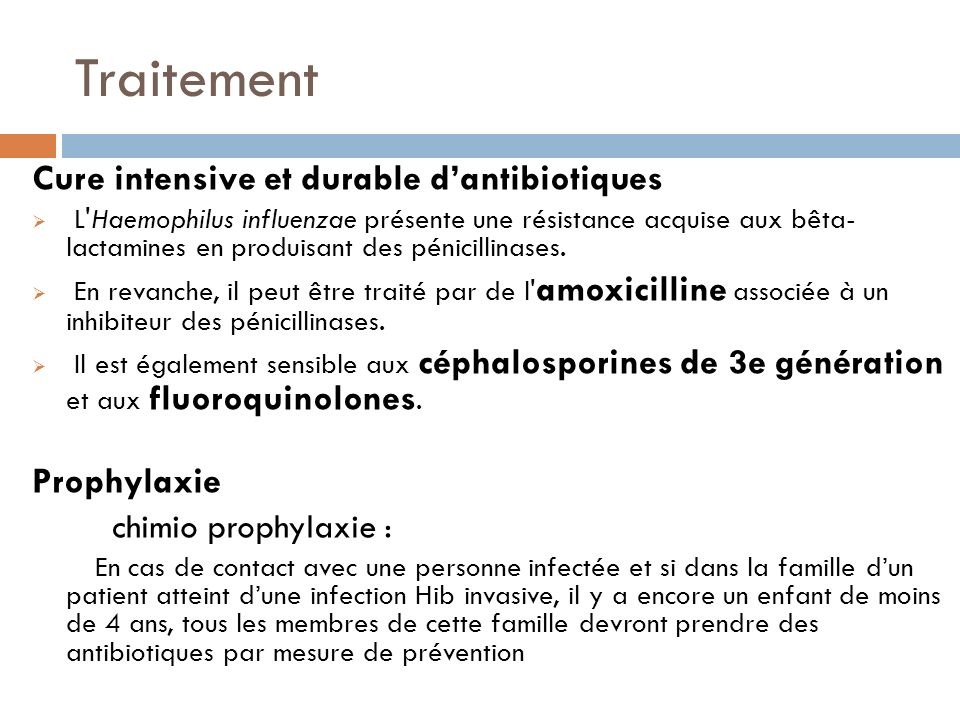 Traitement Cure intensive et durable d'antibiotiques Prophylaxie