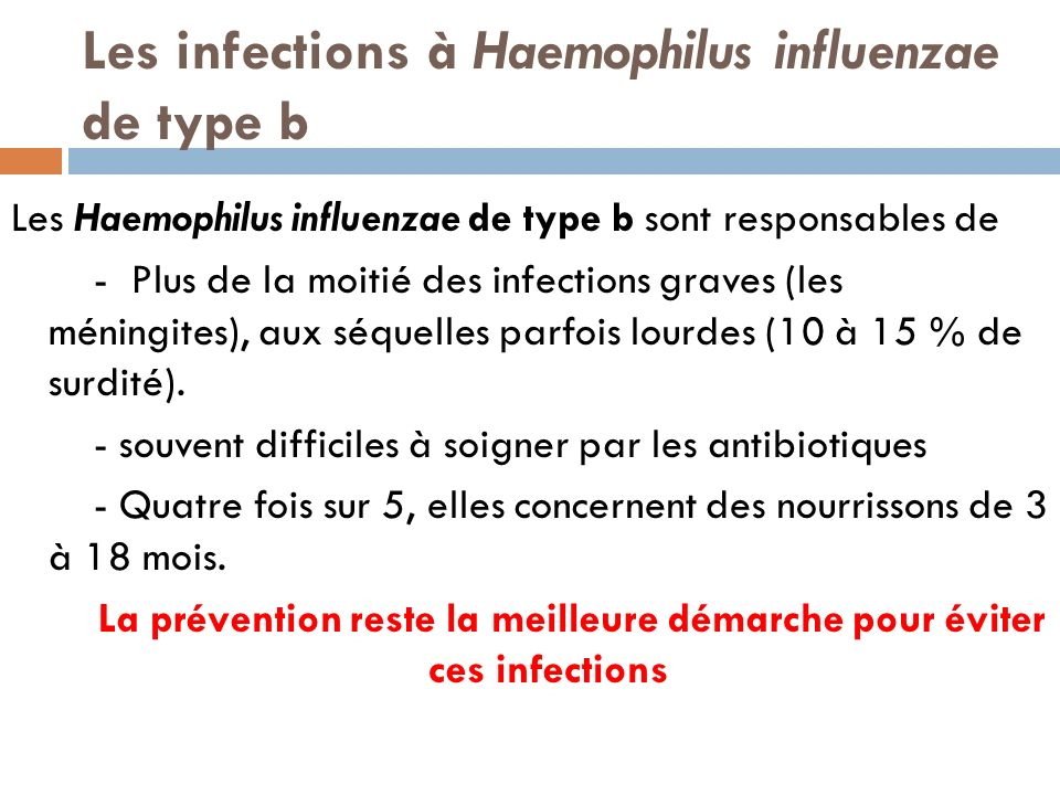 Les infections à Haemophilus influenzae de type b