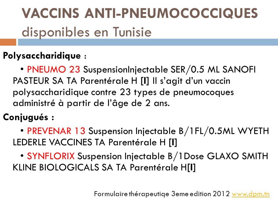 VACCINS ANTI-PNEUMOCOCCIQUES disponibles en Tunisie