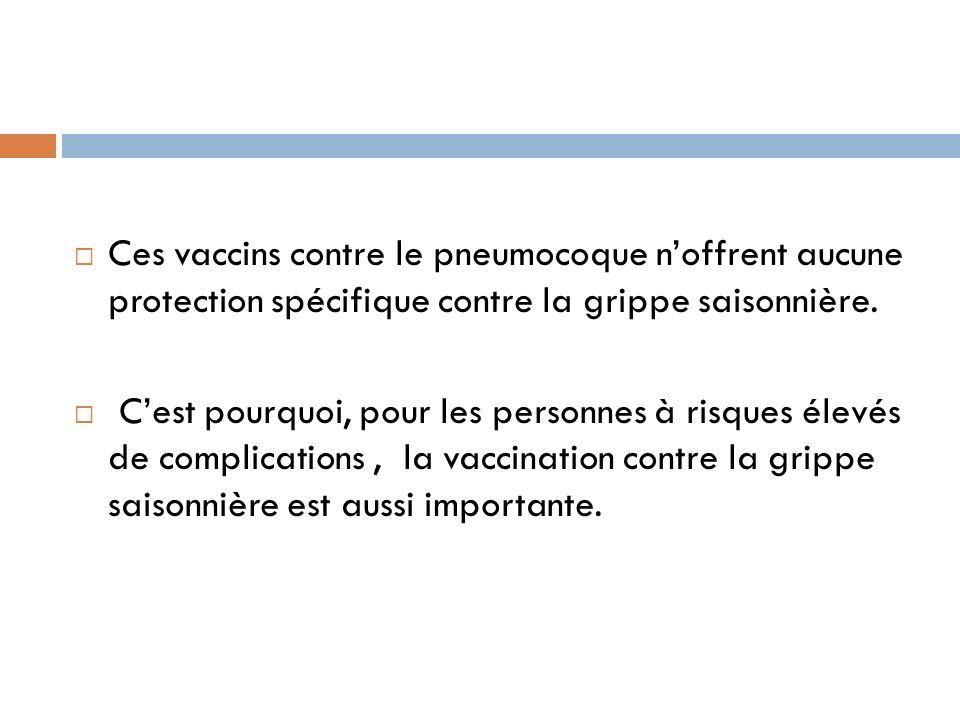 Ces vaccins contre le pneumocoque n'offrent aucune protection spécifique contre la grippe saisonnière.