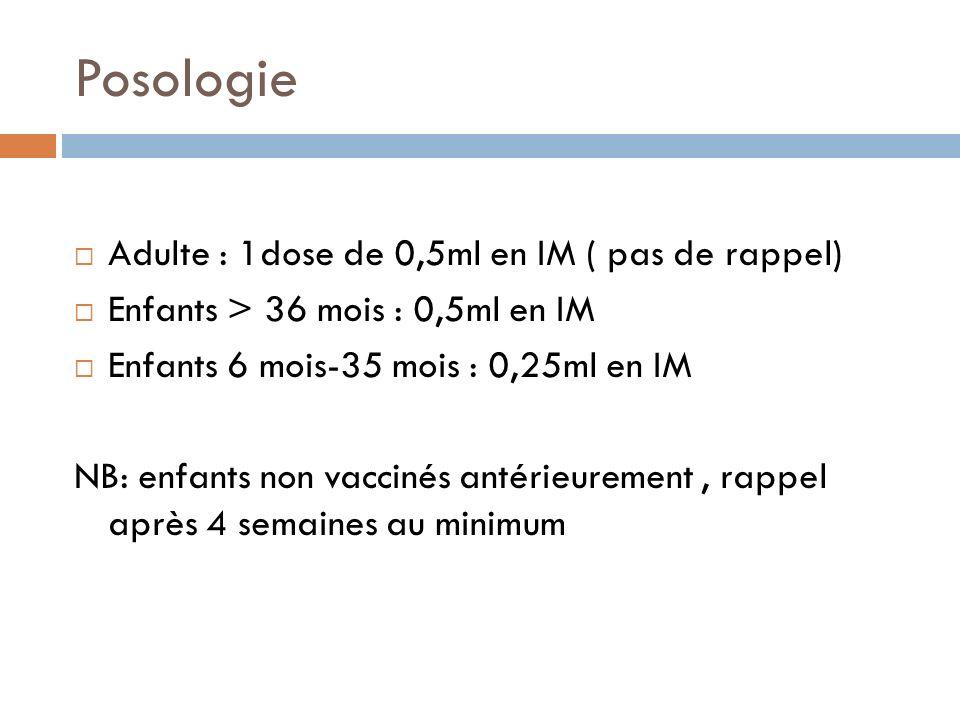 Posologie Adulte : 1dose de 0,5ml en IM ( pas de rappel)