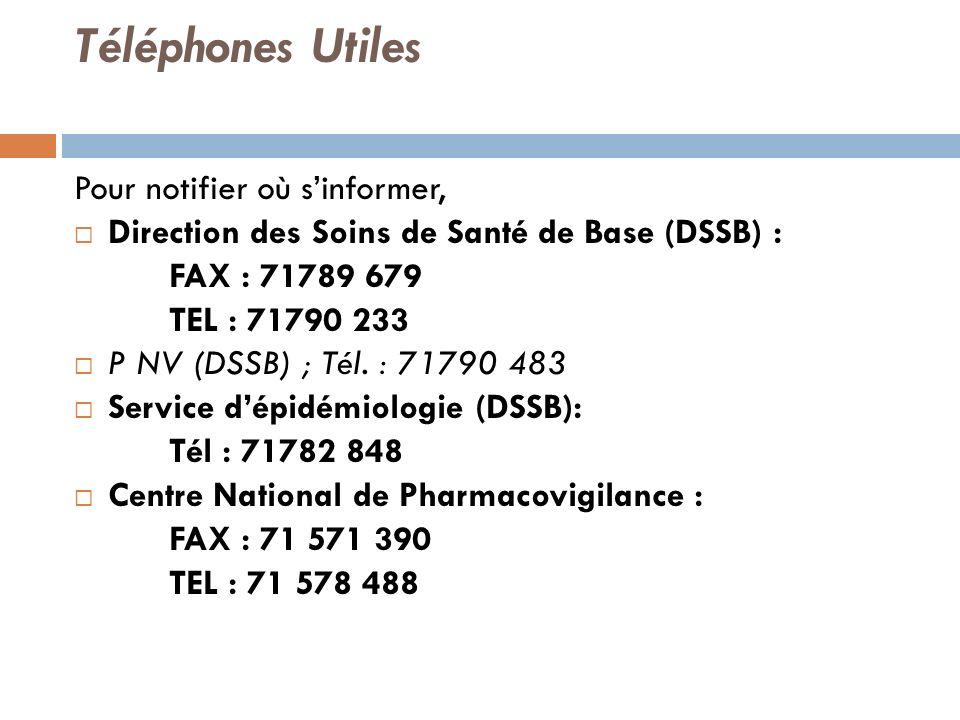 Téléphones Utiles Pour notifier où s'informer,