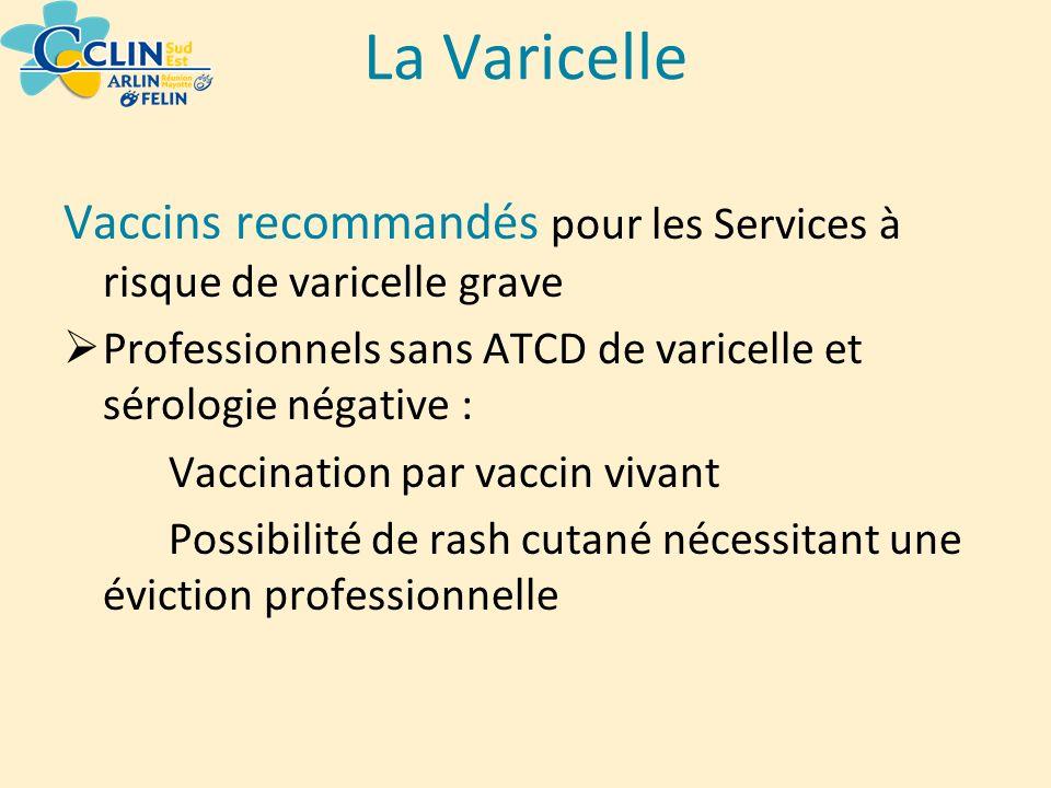 La Varicelle Vaccins recommandés pour les Services à risque de varicelle grave. Professionnels sans ATCD de varicelle et sérologie négative :