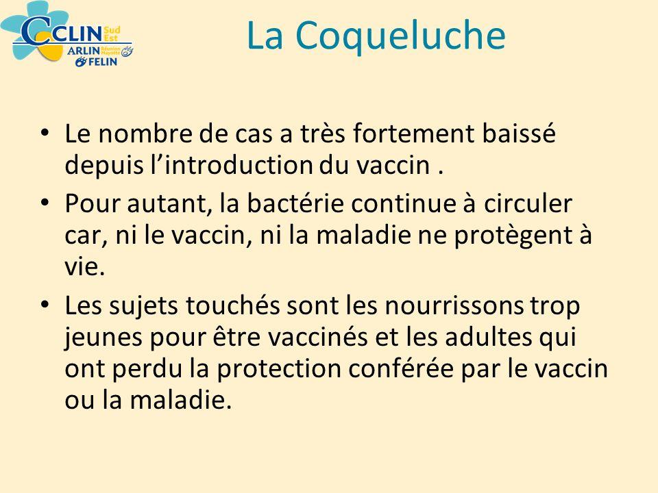 La Coqueluche Le nombre de cas a très fortement baissé depuis l'introduction du vaccin .