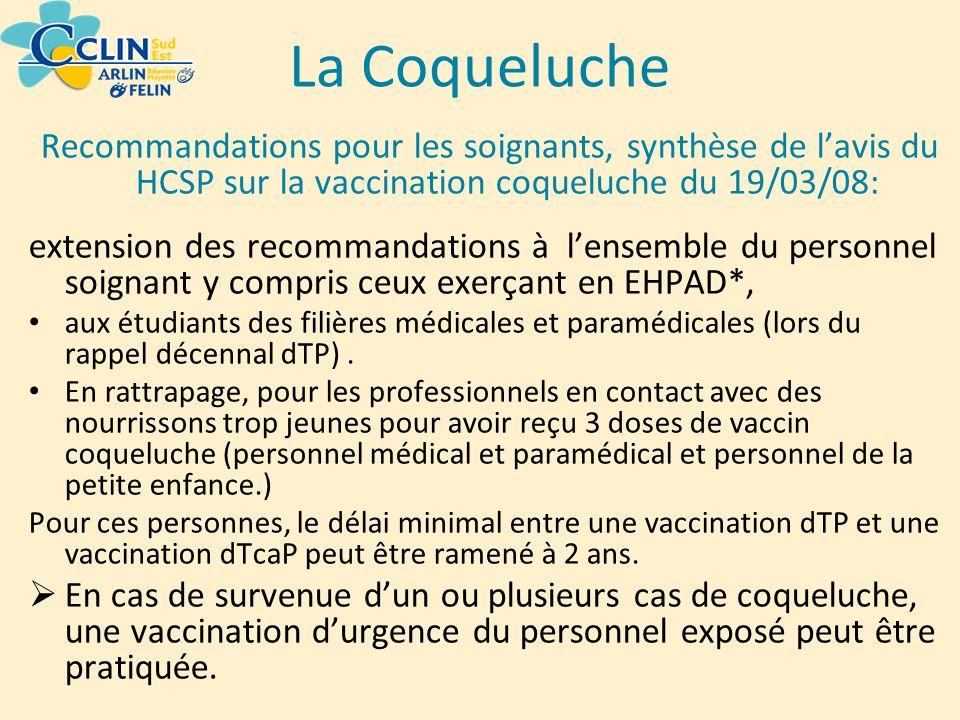 La Coqueluche Recommandations pour les soignants, synthèse de l'avis du HCSP sur la vaccination coqueluche du 19/03/08: