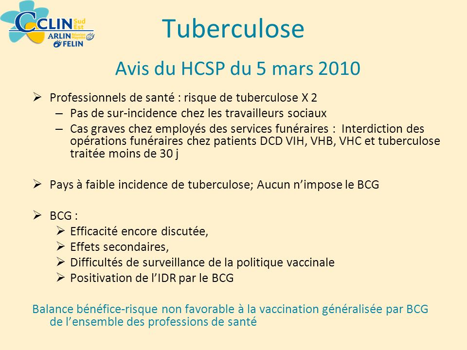 Tuberculose Avis du HCSP du 5 mars 2010