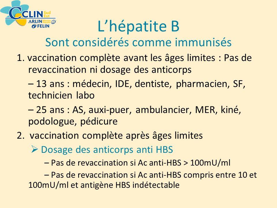 Sont considérés comme immunisés