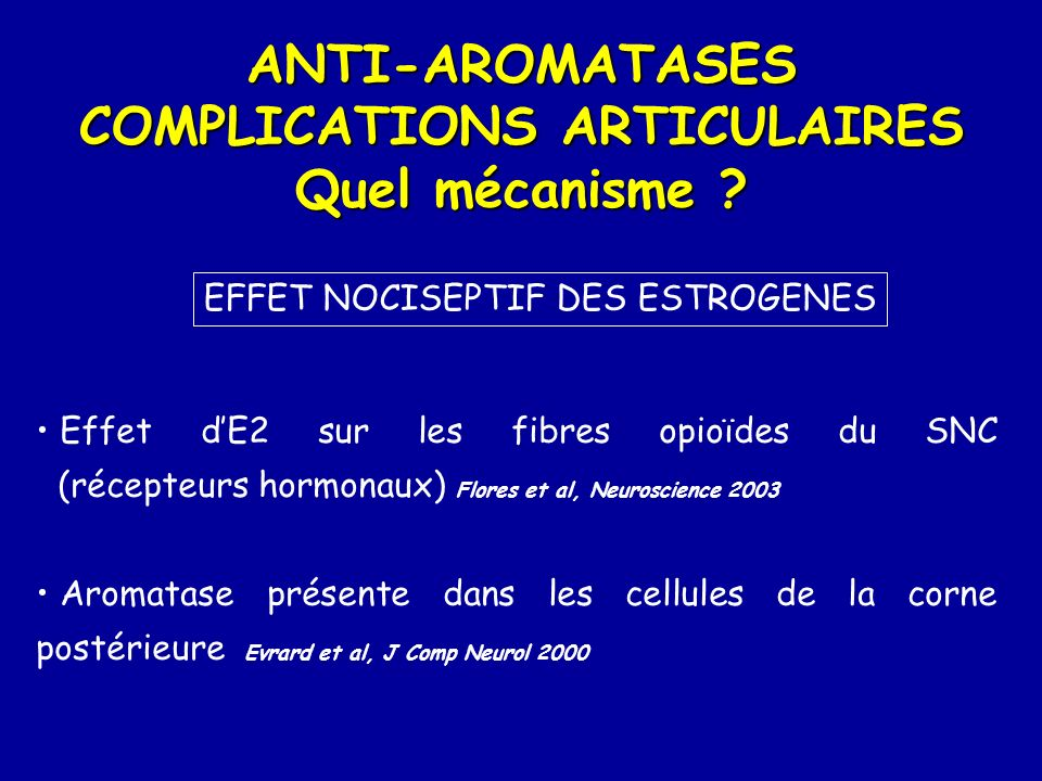 ANTI-AROMATASES COMPLICATIONS ARTICULAIRES Quel mécanisme