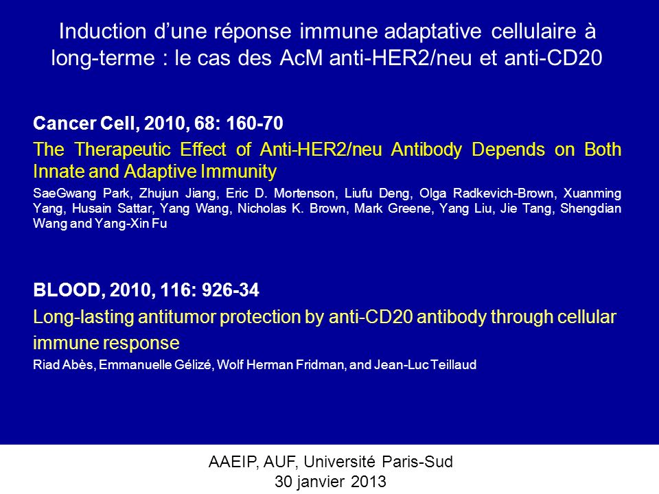 Induction d'une réponse immune adaptative cellulaire à long-terme : le cas des AcM anti-HER2/neu et anti-CD20
