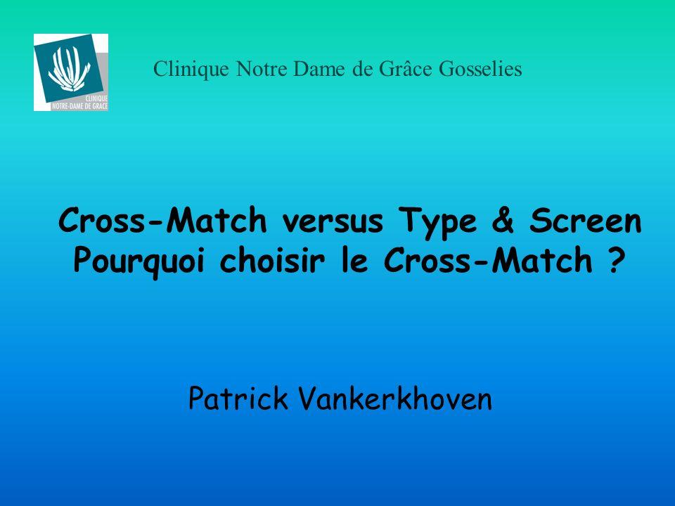 Cross-Match versus Type & Screen Pourquoi choisir le Cross-Match