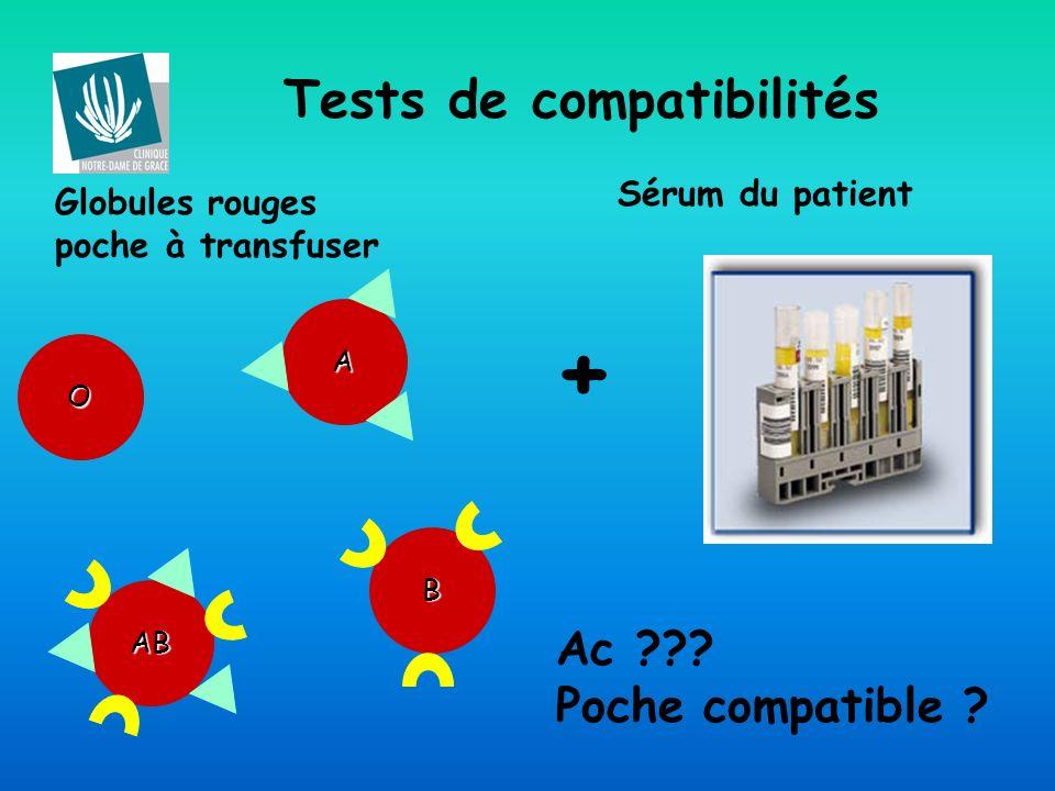 + Tests de compatibilités Ac Poche compatible Sérum du patient