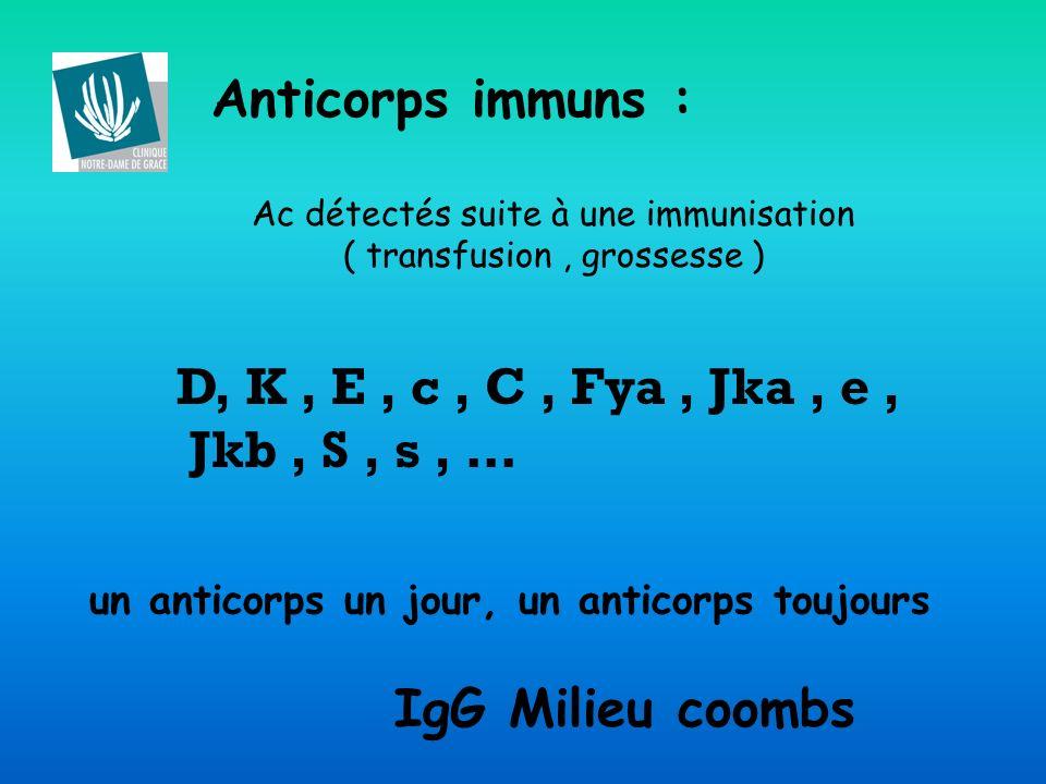 Anticorps immuns : D, K , E , c , C , Fya , Jka , e , Jkb , S , s , …