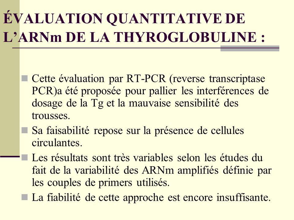 ÉVALUATION QUANTITATIVE DE L'ARNm DE LA THYROGLOBULINE :