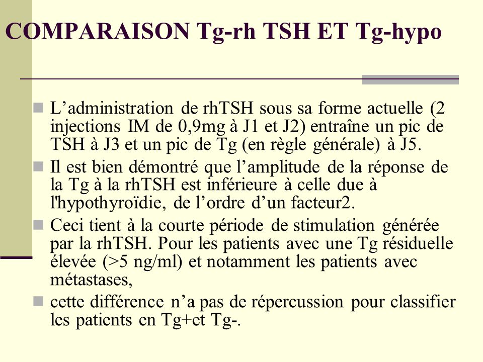 COMPARAISON Tg-rh TSH ET Tg-hypo