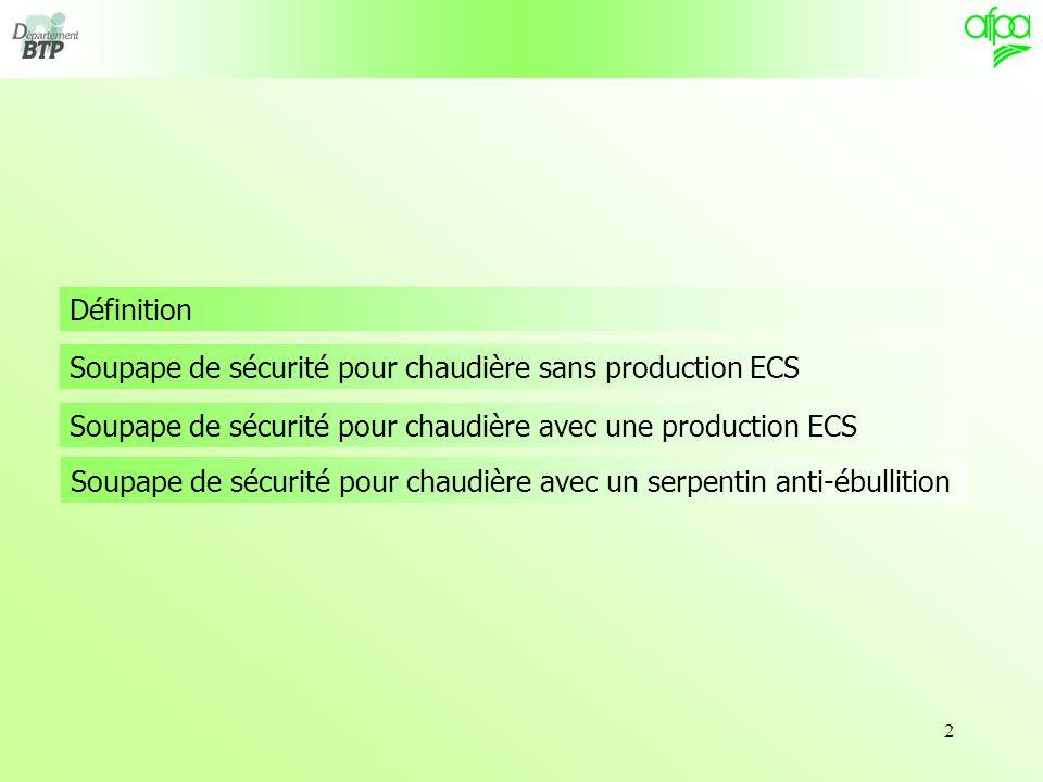 Définition Soupape de sécurité pour chaudière sans production ECS. Soupape de sécurité pour chaudière avec une production ECS.