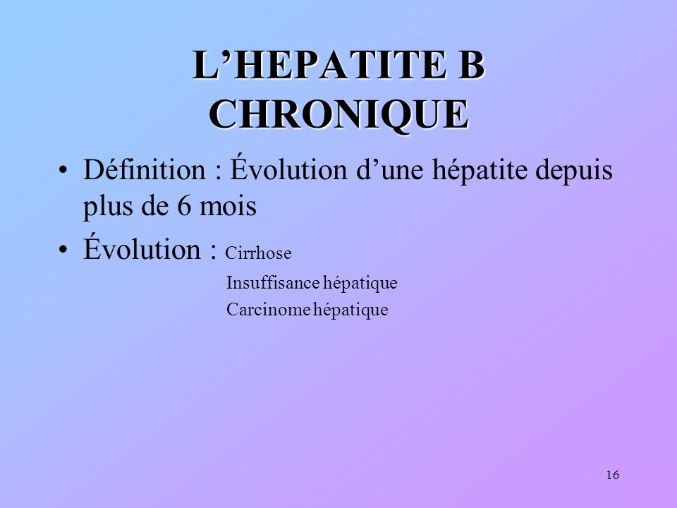 L'HEPATITE B CHRONIQUE