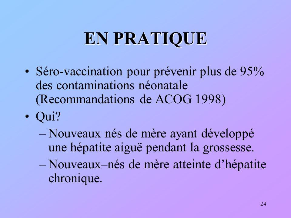 EN PRATIQUE Séro-vaccination pour prévenir plus de 95% des contaminations néonatale (Recommandations de ACOG 1998)
