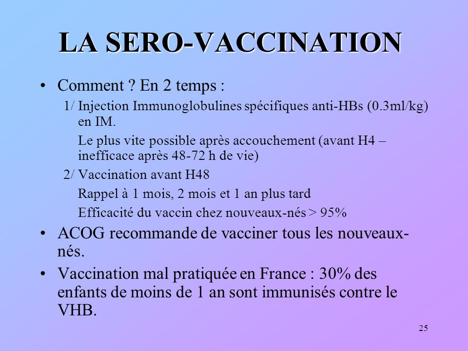 LA SERO-VACCINATION Comment En 2 temps :