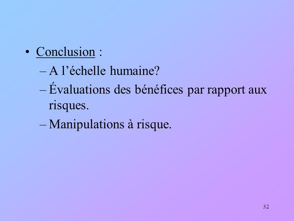 Conclusion : A l'échelle humaine. Évaluations des bénéfices par rapport aux risques.